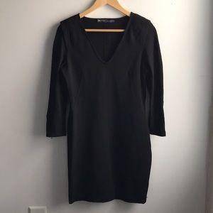 Zara black bodycon shoulder pad zipper dress